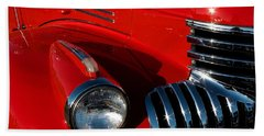 Chevy Red Bath Towel by Linda Bianic
