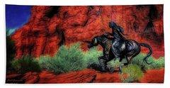 Cheyenne War Pony And Warrior  ... Hand Towel