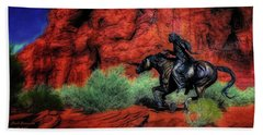 Cheyenne War Pony And Warrior  ... Bath Towel