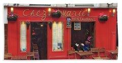 Chez Marie Restaurant, Montmartre, Paris Bath Towel