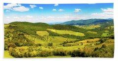 Chianti Rolling Hillside Panorama Bath Towel