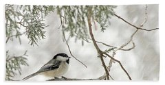 Chicadee In A Snow Storm  Bath Towel