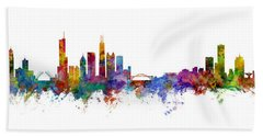 Chicago And Milwaukee Skyline Mashup Bath Towel