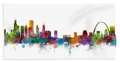 Chicago And St Louis Skyline Mashup Hand Towel by Michael Tompsett