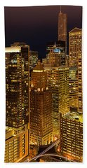Chicago At Night Bath Towel by Joni Eskridge