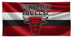 Chicago Bulls - 3 D Badge Over Flag Hand Towel