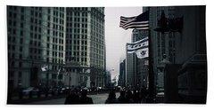Chicago City Fog Hand Towel by Frank J Casella