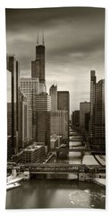 Chicago City View Afternoon B And W 16x20 Hand Towel