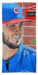 Hand Towel featuring the drawing Chicago Cubs Kris Bryant Portrait by Melissa Goodrich