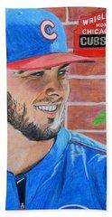 Chicago Cubs Kris Bryant Portrait Bath Towel by Melissa Goodrich