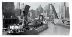 Bath Towel featuring the photograph Chicago Draw Bridge 1941 by Daniel Hagerman