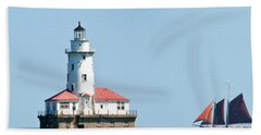 Chicago Harbor Lighthouse And A Tall Ship Hand Towel
