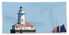 Chicago Harbor Lighthouse And A Tall Ship Bath Towel