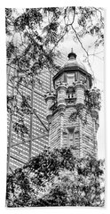 Bath Towel featuring the photograph Chicago Historic Water Tower Fog Black And White by Christopher Arndt
