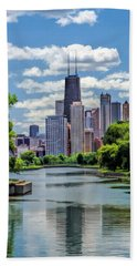Bath Towel featuring the painting Chicago Lincoln Park Lagoon by Christopher Arndt