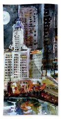 Chicago Night Wrigley Building Art Bath Towel