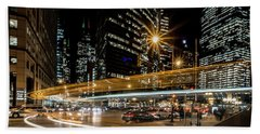 Chicago Nighttime Time Exposure Bath Towel
