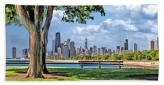 Bath Towel featuring the painting Chicago North Skyline Park by Christopher Arndt