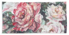 Hand Towel featuring the painting Chicago Peace And Seduction Roses by Ryn Shell