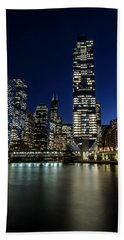 Chicago River And Skyline At Dusk  Bath Towel