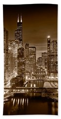 Chicago River City View B And W Hand Towel