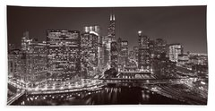Chicago River Panorama B W Hand Towel