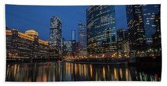 Chicago River Reflections At Dusk  Bath Towel