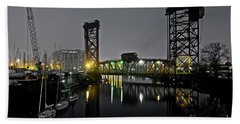 Chicago River Scene At Night Hand Towel