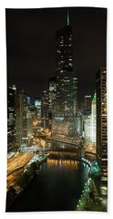 Chicago River Skyline At Night Hand Towel