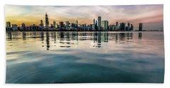 Chicago Skyline And Fish At Dusk Bath Towel