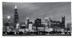 Bath Towel featuring the photograph Chicago Skyline At Night Black And White  by Adam Romanowicz