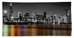 Chicago Skyline - Black And White With Color Reflection Bath Towel