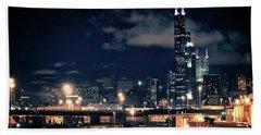 Chicago Skyline Cityscape At Night Bath Towel