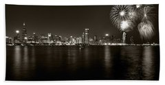 Chicago Skyline Fireworks Bw Hand Towel