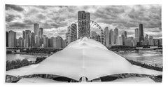 Bath Towel featuring the photograph Chicago Skyline From Navy Pier Black And White by Adam Romanowicz