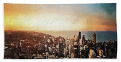 Hand Towel featuring the digital art Chicago Skyline by PixBreak Art