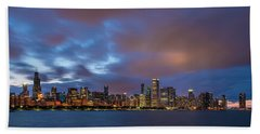 Chicago Skyline Sunset Bath Towel
