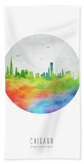 Chicago Skyline Usilch20 Hand Towel by Aged Pixel
