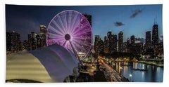 Chicago Skyline With New Ferris Wheel At Dusk Bath Towel