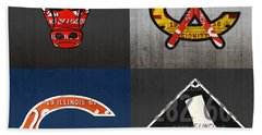 Chicago Sports Fan Recycled Vintage Illinois License Plate Art Bulls Blackhawks Bears And White Sox Bath Towel