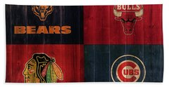 Chicago Sports Teams Rustic Wood Hand Towel
