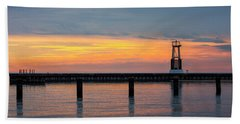Hand Towel featuring the photograph Chicago Sunrise At North Ave. Beach by Adam Romanowicz
