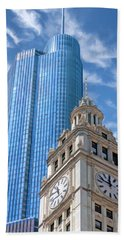 Hand Towel featuring the painting Chicago Trump And Wrigley Towers by Christopher Arndt