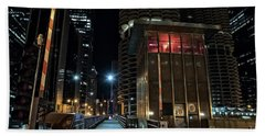 Chicago Urban Vintage River Drawbridge With Tender House At Night Hand Towel