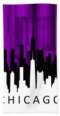 Hand Towel featuring the digital art Chicago Violet Vertical  by Alberto RuiZ