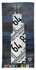 Chicago Windy City Harris Sears Tower License Plate Art Hand Towel by Design Turnpike