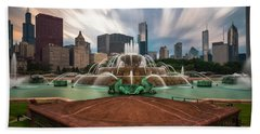 Chicago's Buckingham Fountain Hand Towel by Sean Foster