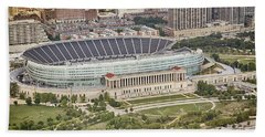 Bath Towel featuring the photograph Chicago's Soldier Field Aerial by Adam Romanowicz