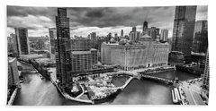 Chicago's Wolf Point From The 27th Floor Hand Towel