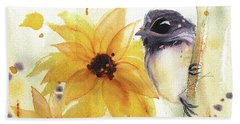 Bath Towel featuring the painting Chickadee And Sunflowers by Dawn Derman
